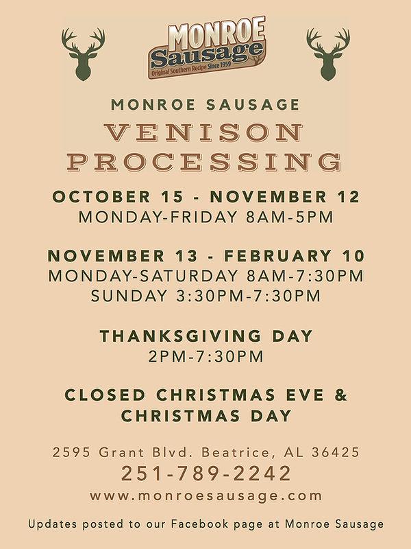 Venison Procession Schedule